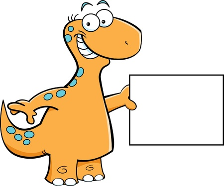 brontosaurus: Cartoon illustrazione di un brontosauro con un cartello
