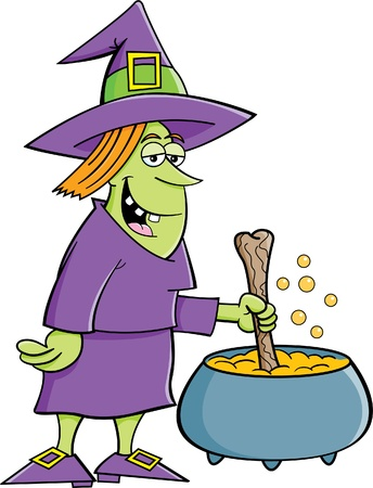 stirring: Cartoon illustration of a witch with a pot