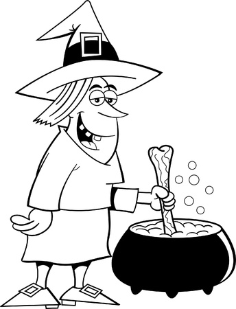 Black and white illustration of a witch with a pot Vector