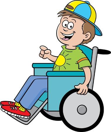 핸디캡: 휠체어에 소년의 만화 그림 일러스트