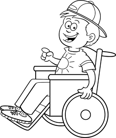 cartoon wheelchair: Black and white illustration of a boy in a wheelchair