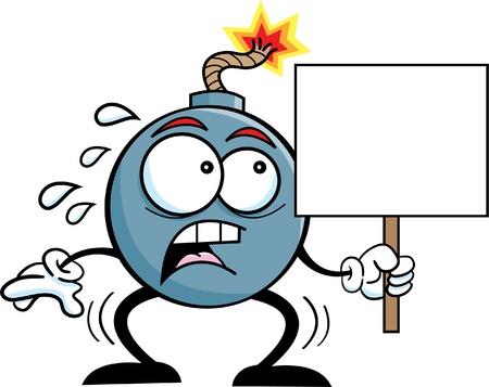 Zwart-wit afbeelding van een bom met een bordje Stock Illustratie