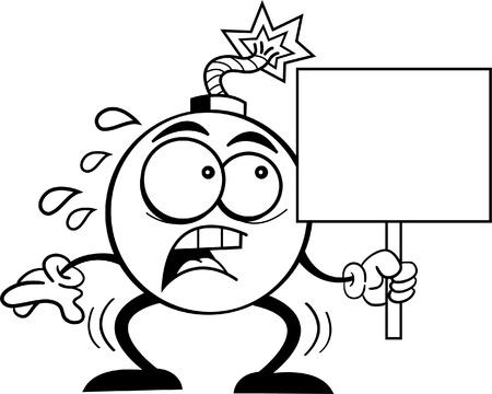 Black and white illustration of a bomb holding a sign Ilustração