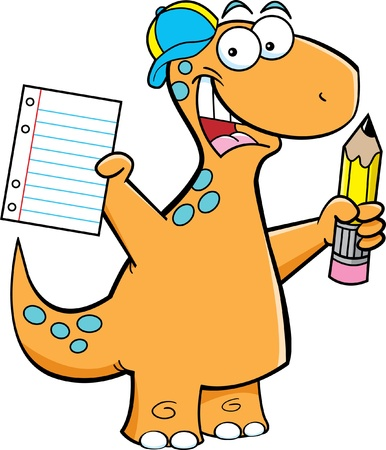 Cartoon illustration of a brontosaurus with a pencil Illustration