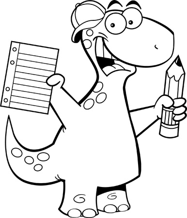 Black and white illustration of a brontosaurus with a pencil Vector