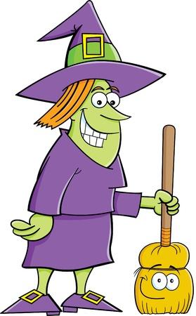 Cartoon illustratie van een heks met een bezem Stock Illustratie