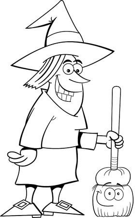 Black and white illustration of a witch with a broom Vector