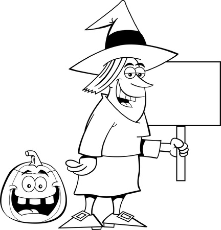 Black and white illustration of a witch holding a sign Vector