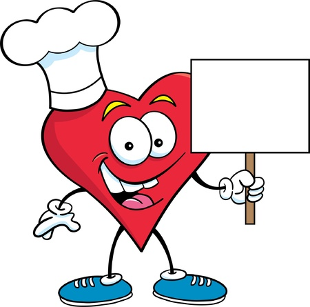 chef s hat: Cartoon illustration of a heart wearing a chef s hat and holding a sign