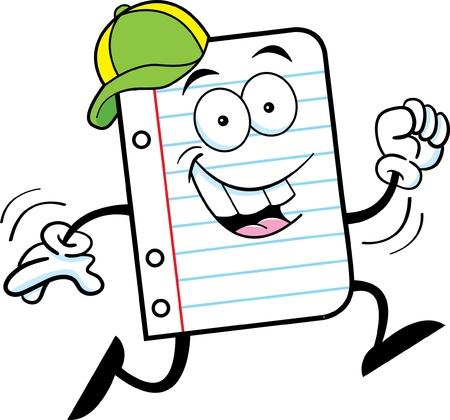 Cartoon illustration of notebook paper running Illusztráció
