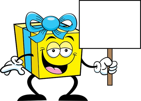 Cartoon illustration of a happy gift holding a sign Stock Vector - 14605642