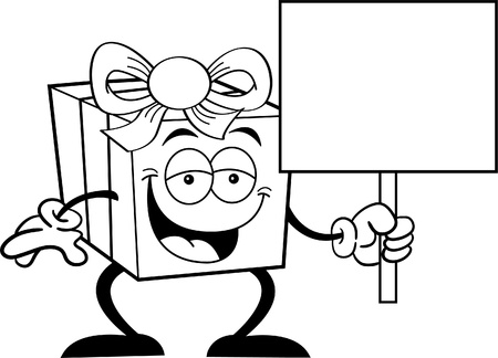 Black and white illustration of a happy gift holding a sign Stock Vector - 14605640
