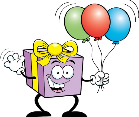 Cartoon illustration of a happy gift holding balloons Stock Vector - 14605648