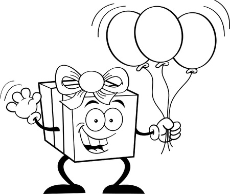 Black and white illustration of a happy gift holding balloons Stock Vector - 14605643
