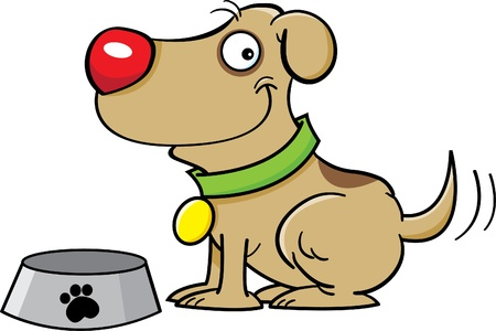 Cartoon illustration of a dog with a dog dish