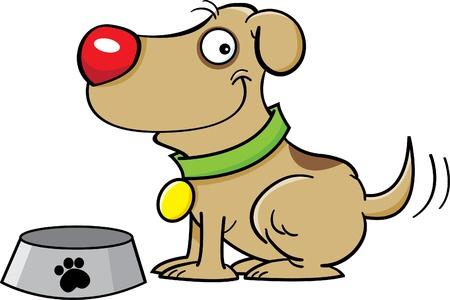 cute dog: Cartoon illustration of a dog with a dog dish