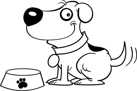dog outline: Black and white illustration of a dog with a dog dish