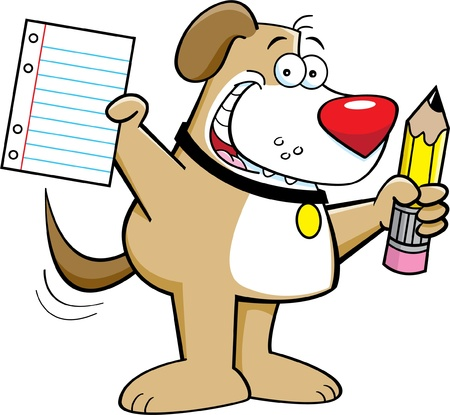 Cartoon illustration of a dog holding a pencil and paper