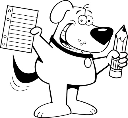 Black and white illustration of a dog holding a pencil and paper Vector