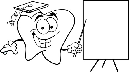 Black and white illustration of a tooth with a sign