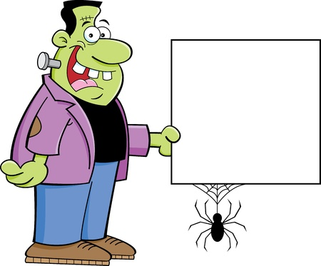 Cartoon illustration of Frankenstein holding a sign Vector