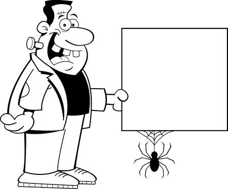 clipart frankenstein: Black and white illustration of Frankenstein holding a sign