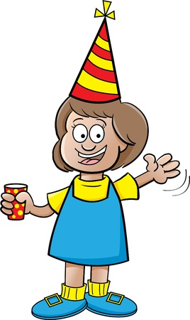 Cartoon illustration of a happy girl waving Stock Vector - 14662358
