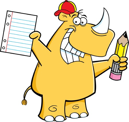 Cartoon illustration of a rhino holding a pencil