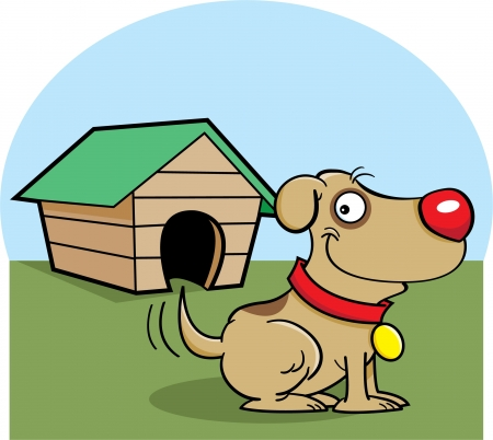 Cartoon illustration of a dog with a dog house