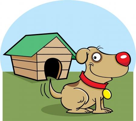 casa de perro: Cartoon ilustraci�n de un perro con un perro de la casa