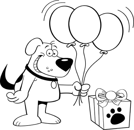 Black and white illustration of a dog holding balloons Vector