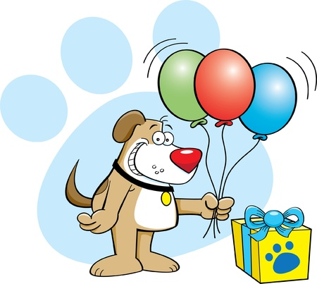 cartoon illustration of a dog holding balloons