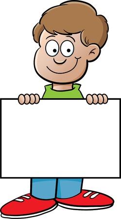 Cartoon illustratie van een jongen met een bordje