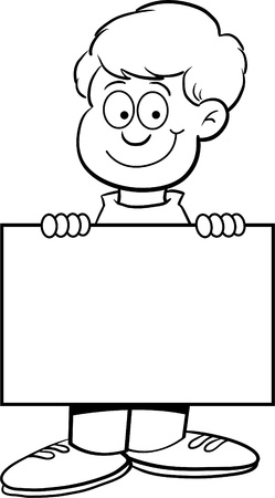 Black and white illustration of a boy holding a sign Vector