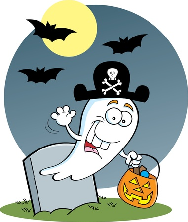 Cartoon illustration of a ghost trick or treating in the moonlight