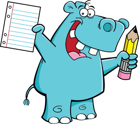 Cartoon illustration of a hippo holding a paper and a pencil Vector
