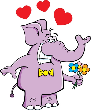 Cartoon illustration of an elephant holding flowers Illusztráció