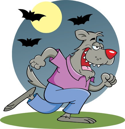 Cartoon illustration of a running werewolf in the moonlight Vector