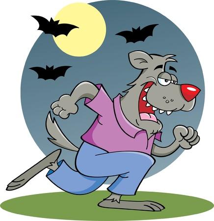 Cartoon illustration of a running werewolf in the moonlight Vector