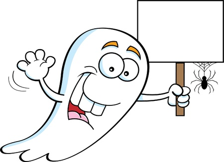 Cartoon illustration of a ghost holding a sign