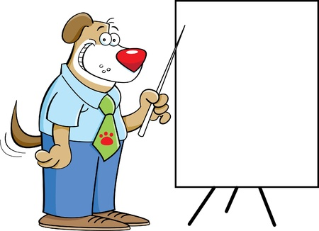Cartoon illustration of a dog pointing to a chart