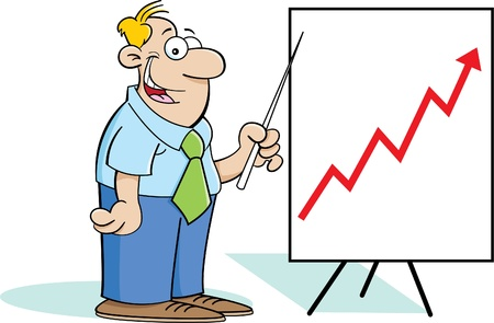 Cartoon illustration of a man with a chart Stock Vector - 14772742