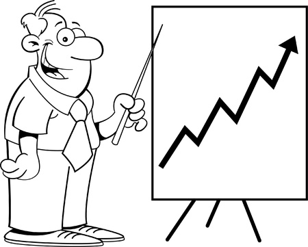 Black and white illustration of a man with a chart Stock Vector - 14772735