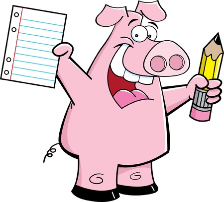Cartoon illustration of a happy pig holding a paper and a pencil