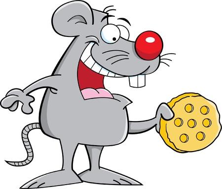 チーズを保持しているマウスの漫画イラスト  イラスト・ベクター素材