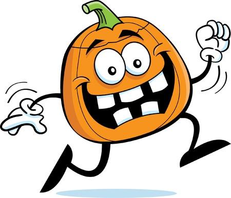 Cartoon illustration of a happy running pumpkin Banco de Imagens - 14772751