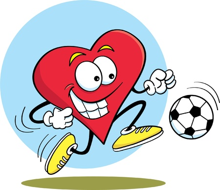 Cartoon illustration of a heart playing soccer
