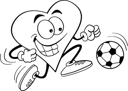 Black and white illustration of a heart playing soccer