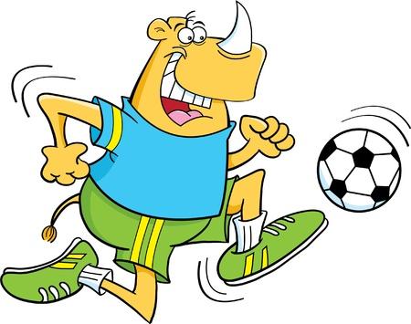Cartoon illustration of a Rhino playing soccer