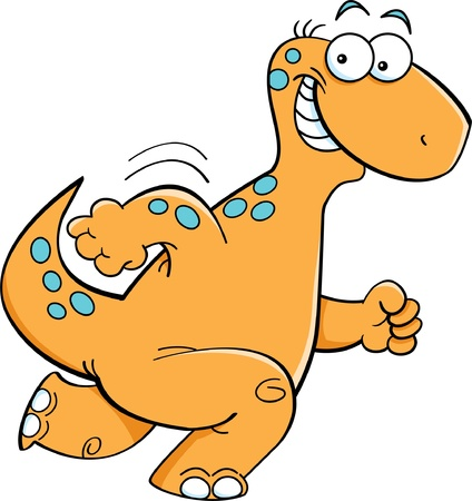 Cartoon illustration of a happy running brontosaurus